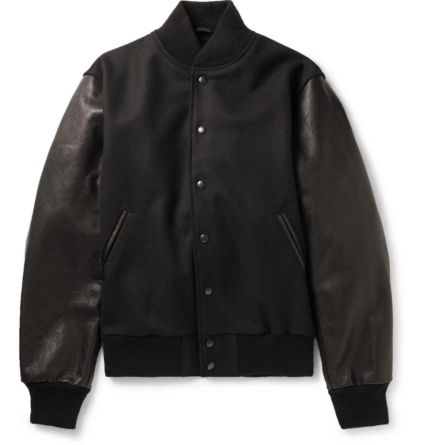 Photo: Golden Bear - The Albany Wool-Blend and Leather Bomber Jacket - Black