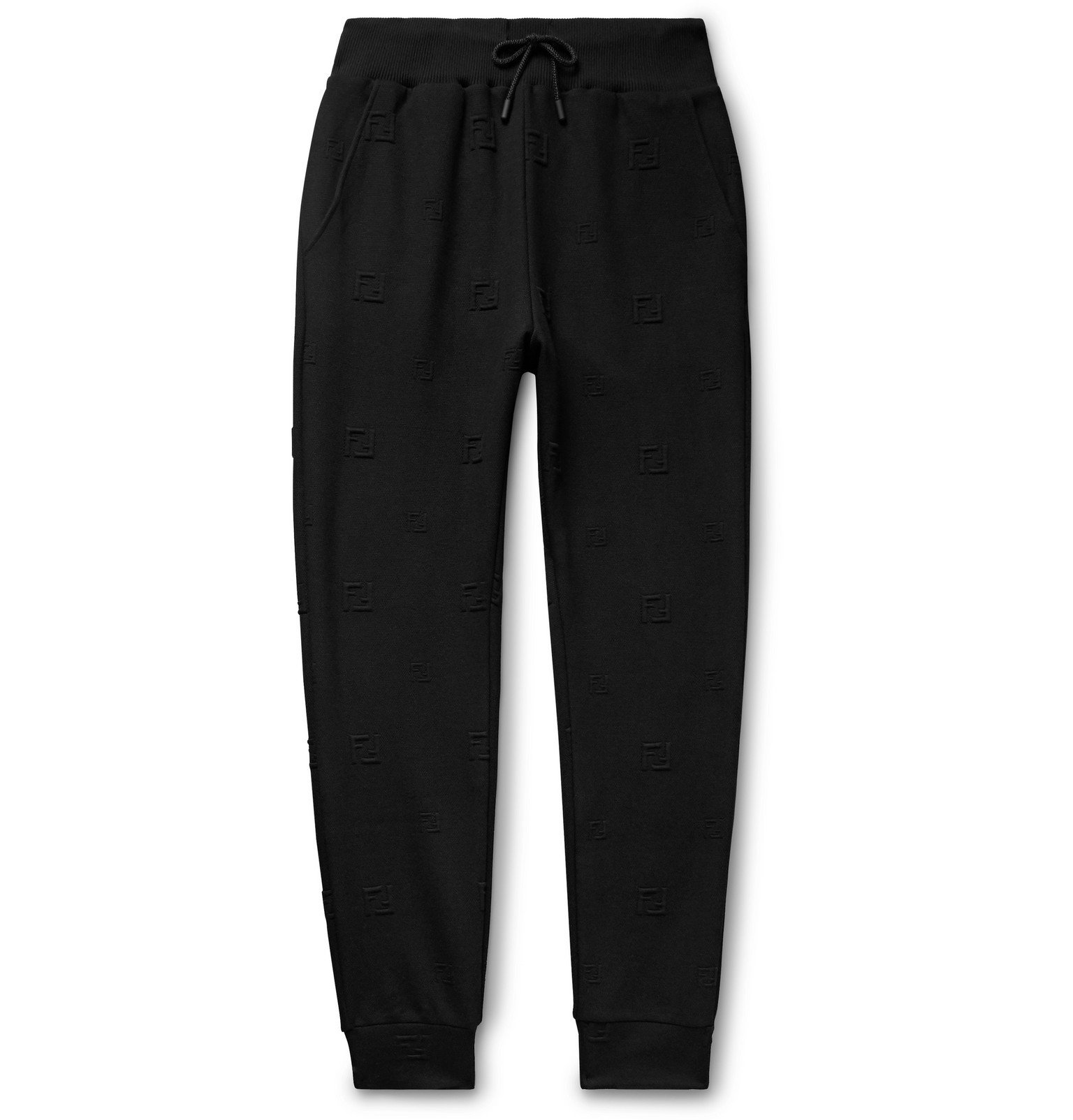 Photo: Fendi - Tapered Logo-Jacquard Stretch-Jersey Drawstring Track Pants - Black