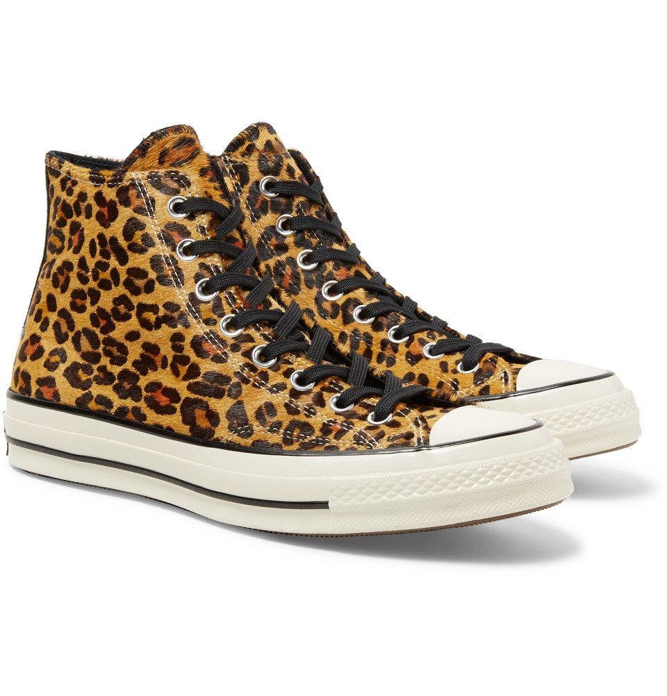 Photo: Converse - 1970s Chuck Taylor All Star Leopard-Print Faux Calf Hair High-Top Sneakers - Leopard print
