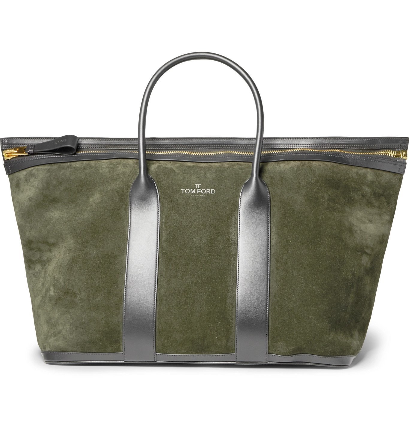 Photo: TOM FORD - Leather-Trimmed Suede Holdall - Green