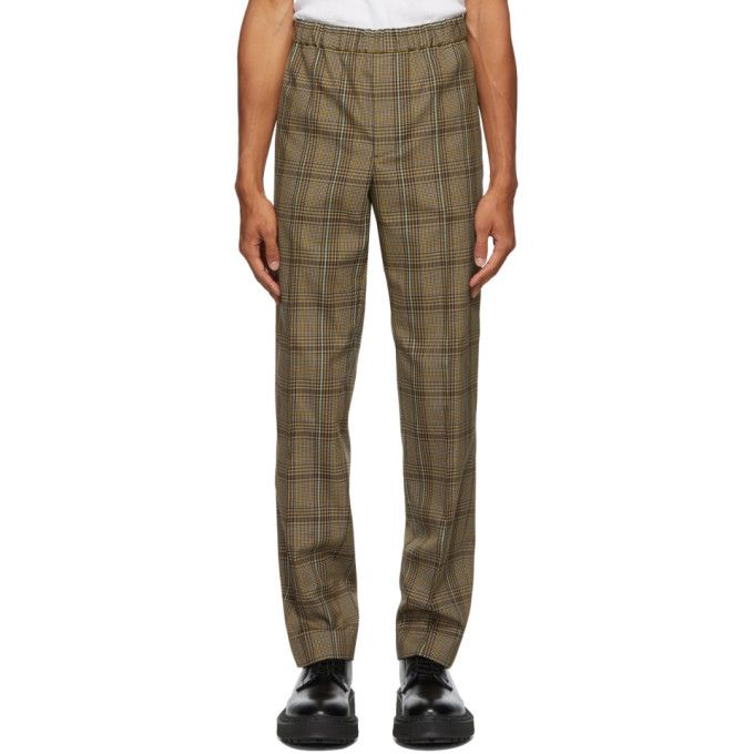 Photo: Helmut Lang Beige and Black Wool Plaid Pull-On Trousers