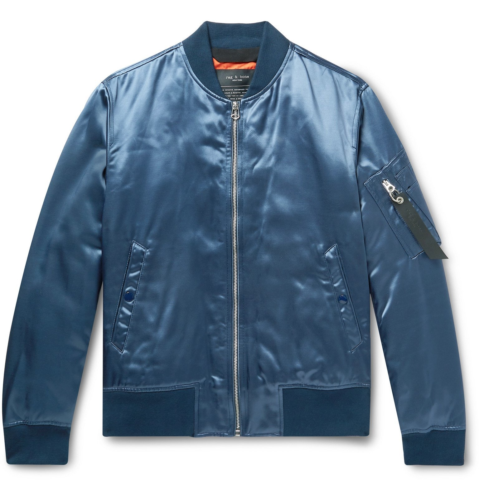 Photo: rag & bone - Manston Satin Bomber Jacket - Blue