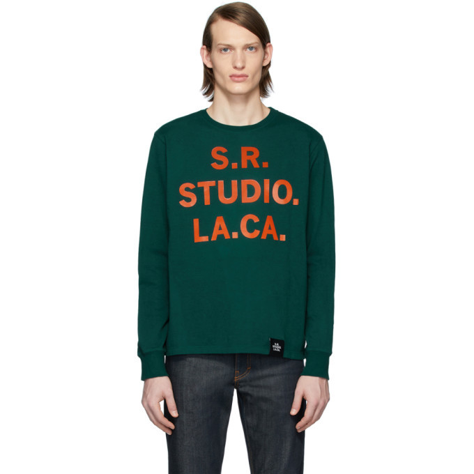 Photo: S.R. STUDIO. LA. CA. Green S.R.S. Logo and Vampire Sunrise Basic Long Sleeve T-Shirt