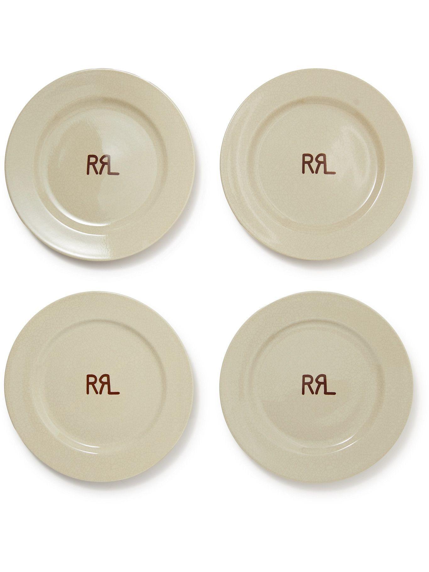 RRL - Set of Four Logo-Print Ceramic Plates