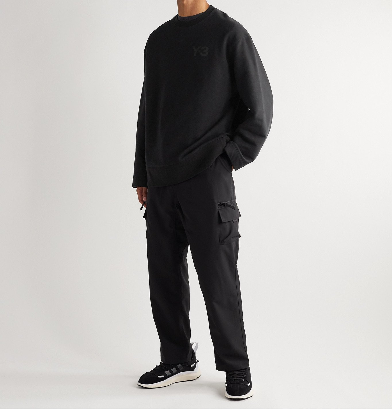 Y-3 - Oversized Logo-Print Loopback Cotton-Jersey Sweatshirt - Black
