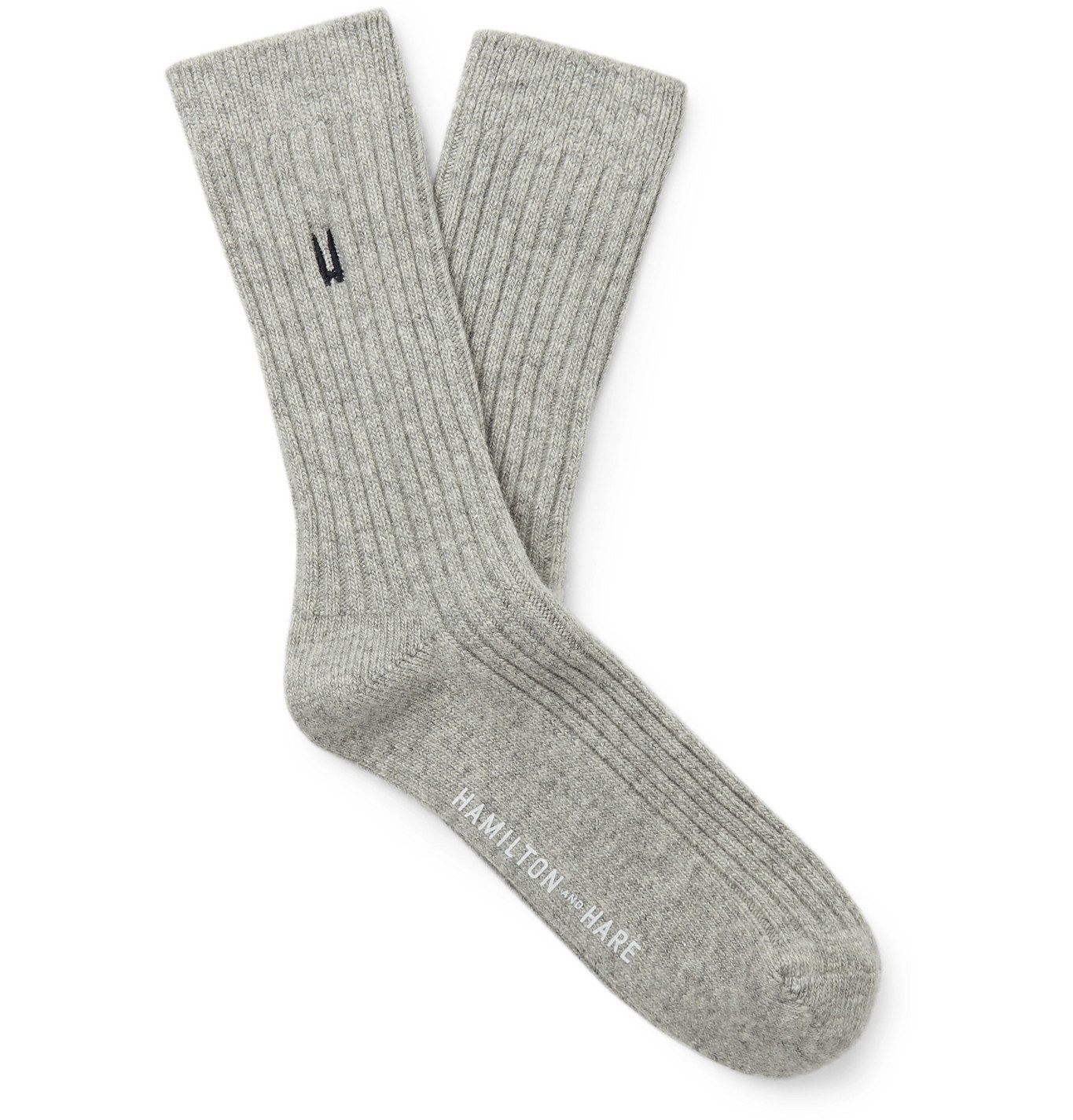 Photo: Hamilton and Hare - Lounge Logo-Embroidered Mélange Ribbed-Knit Socks - Gray