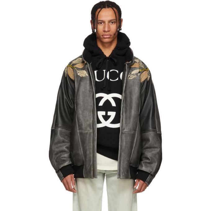 Photo: Gucci Black Leather Applique Bomber Jacket