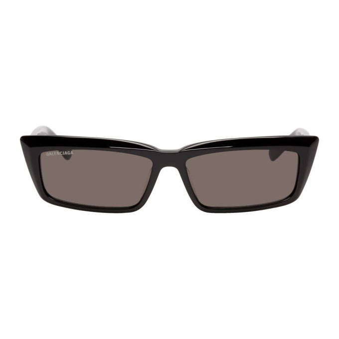 Photo: Balenciaga Black Tip Rectangular Sunglasses
