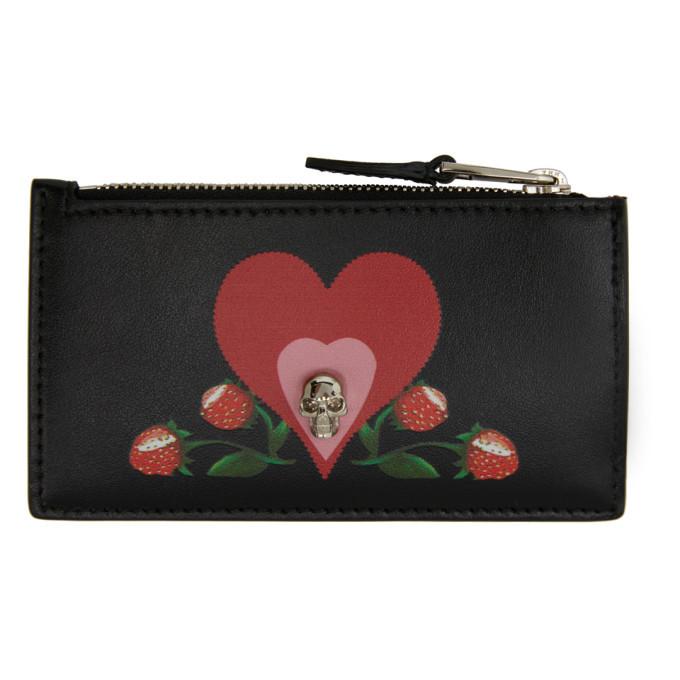 Photo: Alexander McQueen Black Small Skull Heart Zip Card Holder