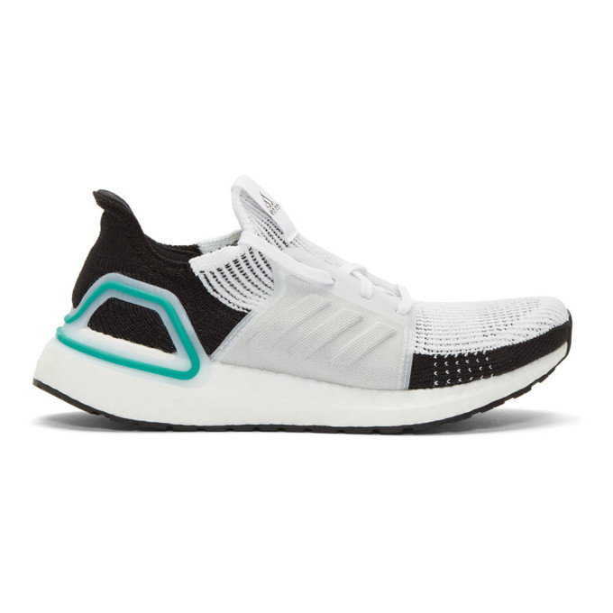 Photo: adidas Originals White and Black UltraBoost 19 Sneakers