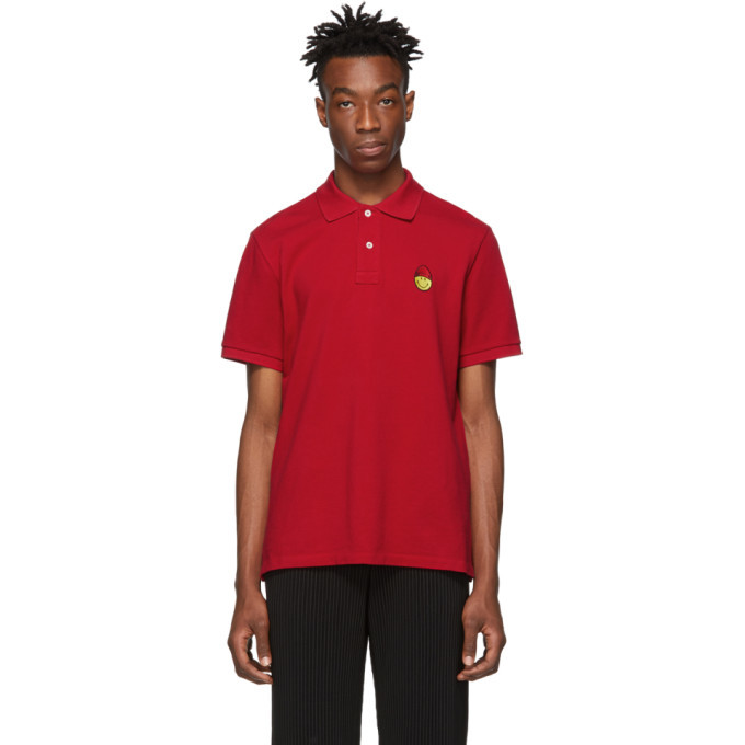 Photo: AMI Alexandre Mattiussi Red Smiley Edition Patch Polo