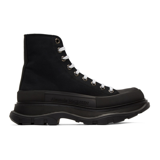 Photo: Alexander McQueen Black Canvas Lace-Up Boots