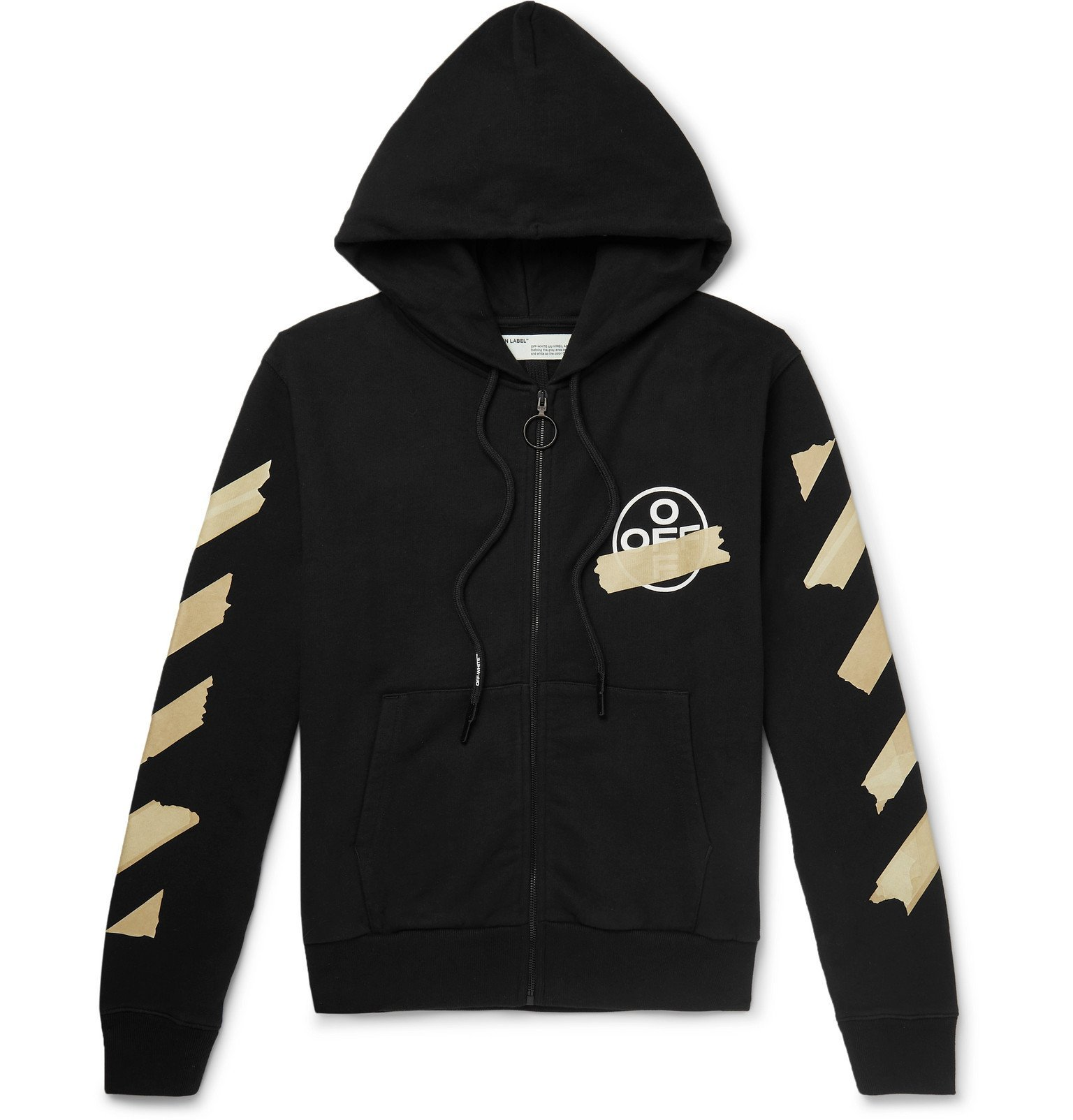 Photo: Off-White - Printed Loopback Cotton-Jersey Zip-Up Hoodie - Black
