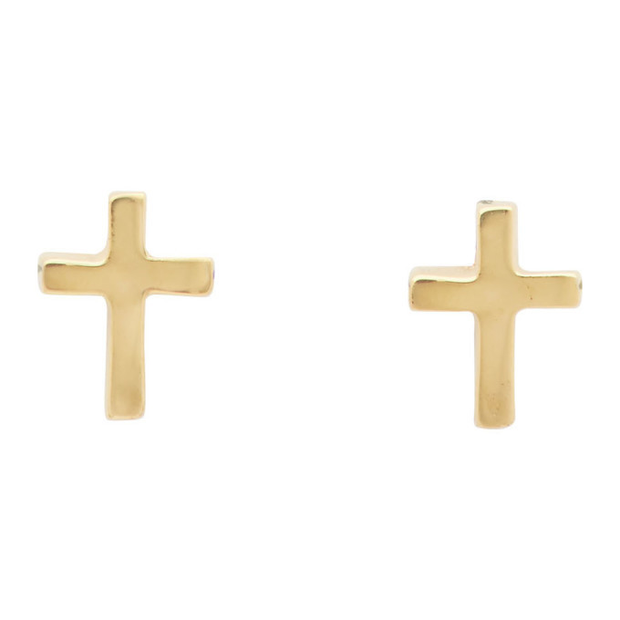Photo: Stolen Girlfriends Club Gold Tiny Stolen Cross Earrings