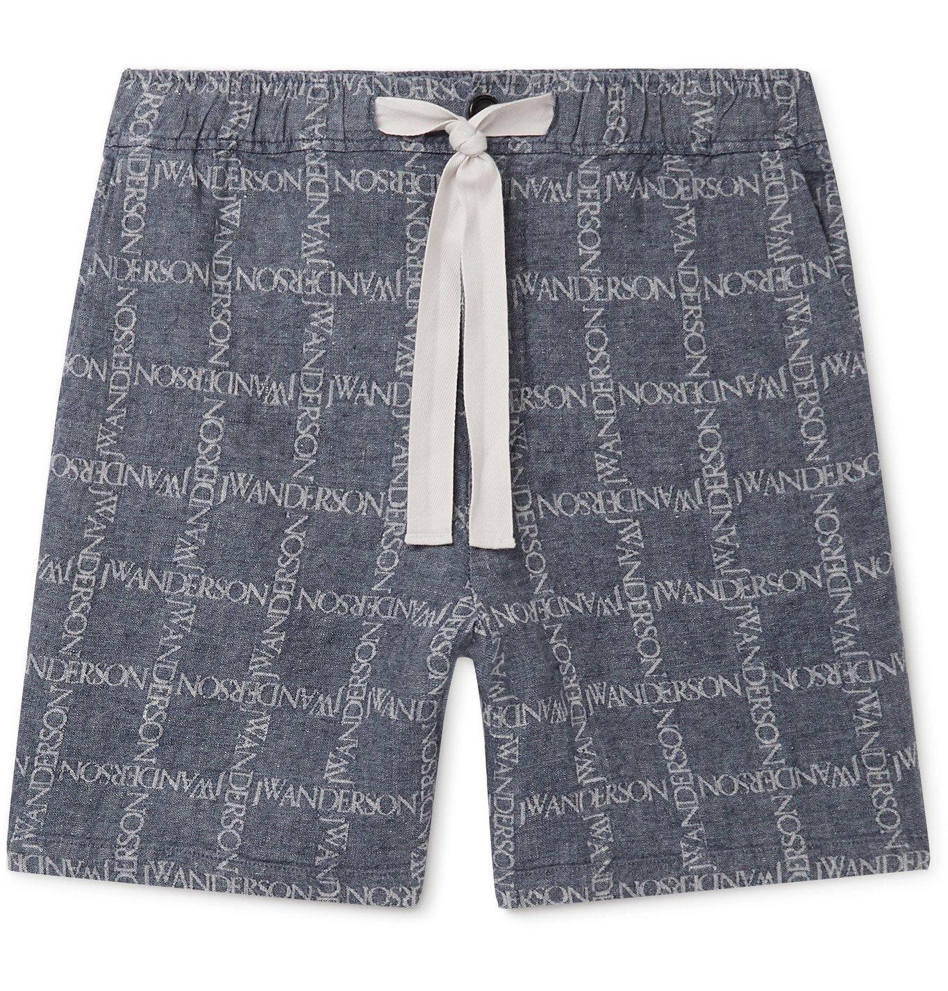 Photo: JW Anderson - Logo-Jacquard Linen Drawstring Shorts - Blue