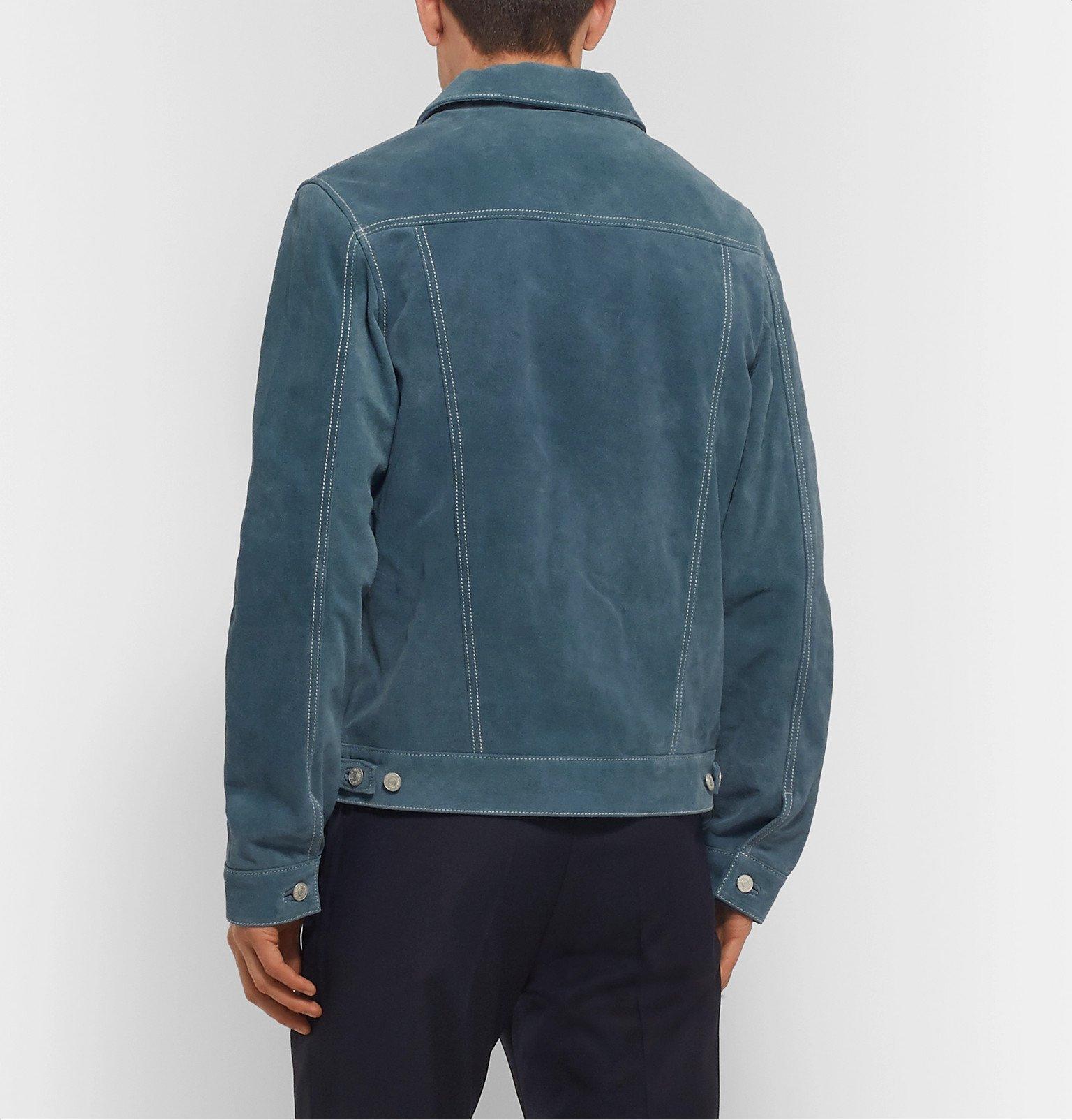 Officine Generale - Leo Suede Trucker Jacket - Blue