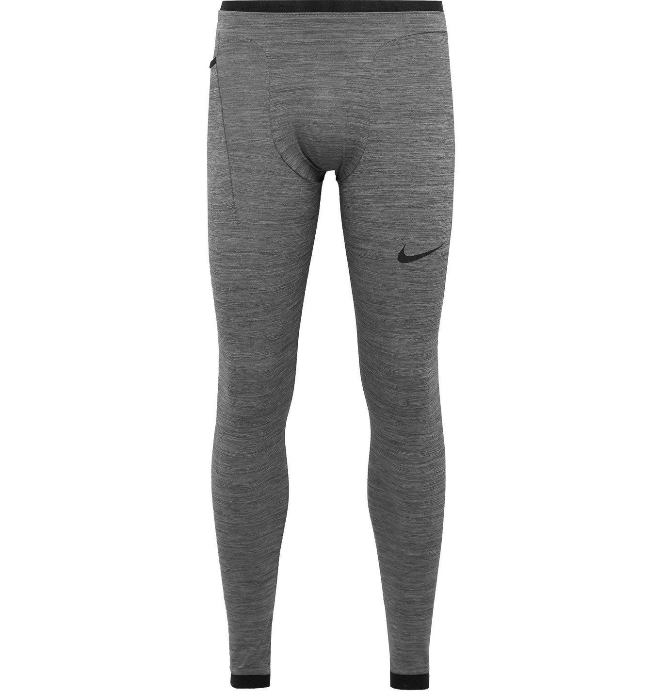 Photo: Nike Training - Pro Logo-Print Mélange Dri-FIT Tights - Gray
