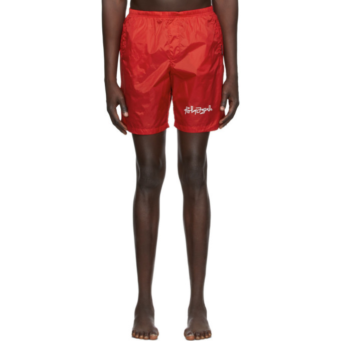 Photo: Palm Angels Red Desert Logo Swim Shorts