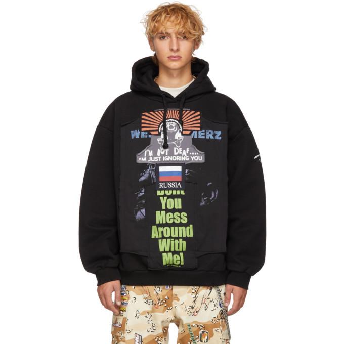 Photo: Vetements Black Oversized Russia Patchwork Hoodie