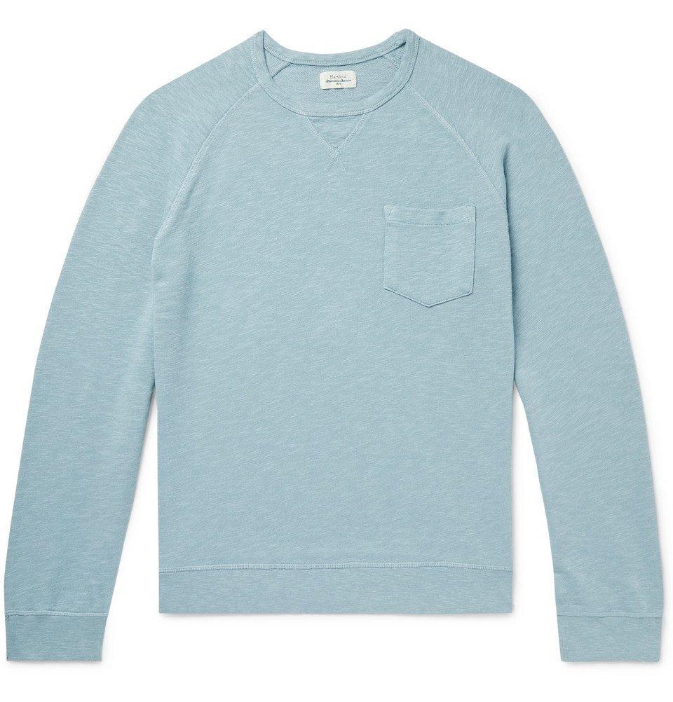 Photo: Hartford - Mélange Loopback Cotton-Jersey Sweatshirt - Light blue