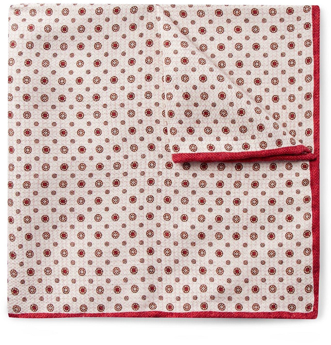 Photo: Brunello Cucinelli - Printed Silk-Jacquard Pocket Square - Red