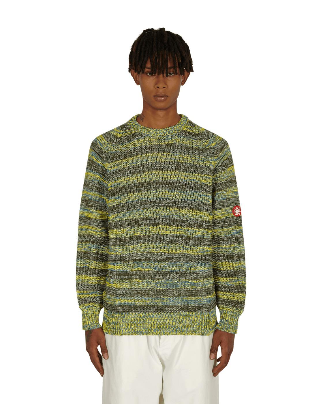Photo: Cav Empt Stripe Loose Waffle Mix Knit Sweater Green