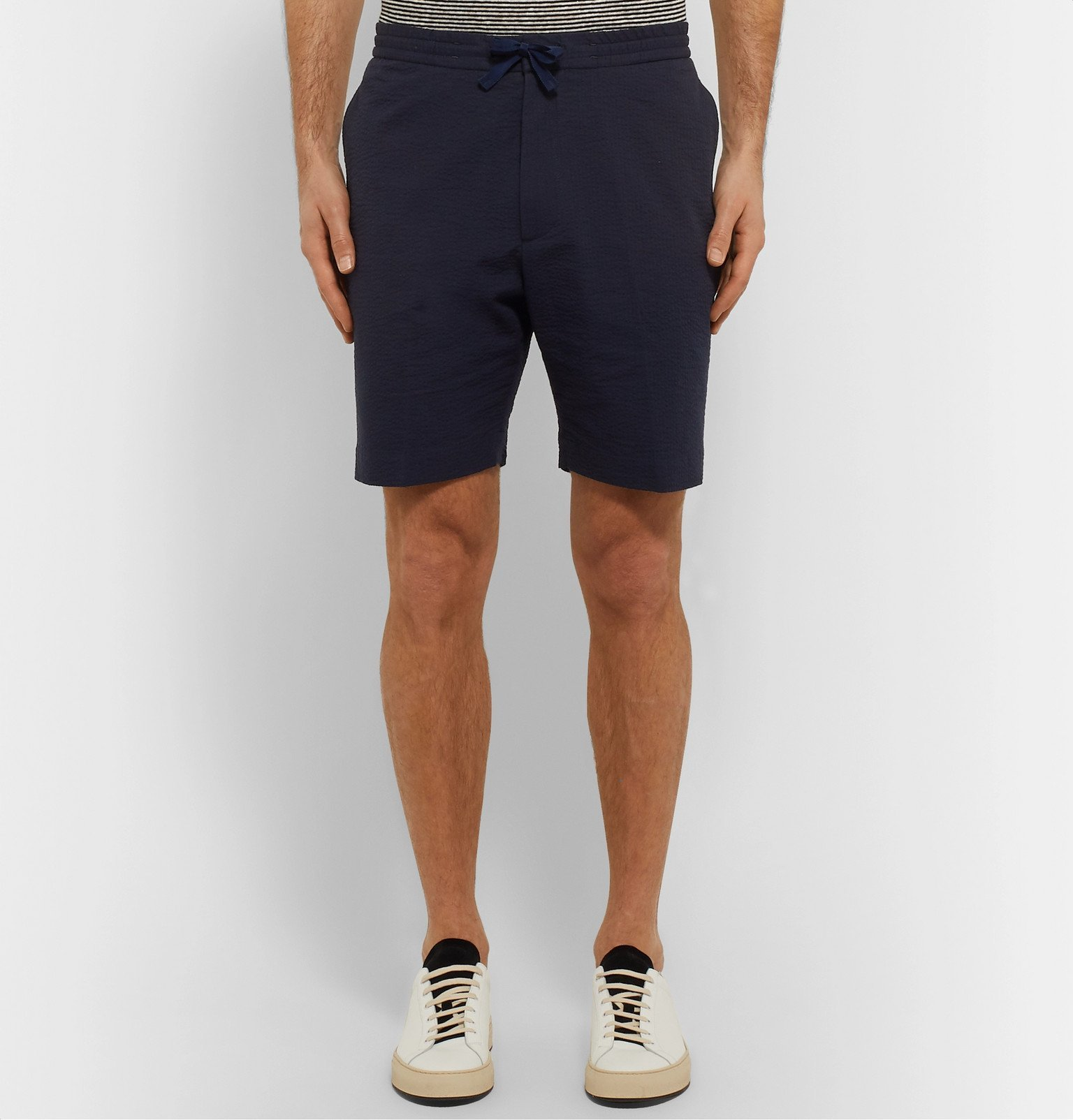 Officine Generale - Phil Slim-Fit Cotton-Seersucker Drawstring Shorts - Blue