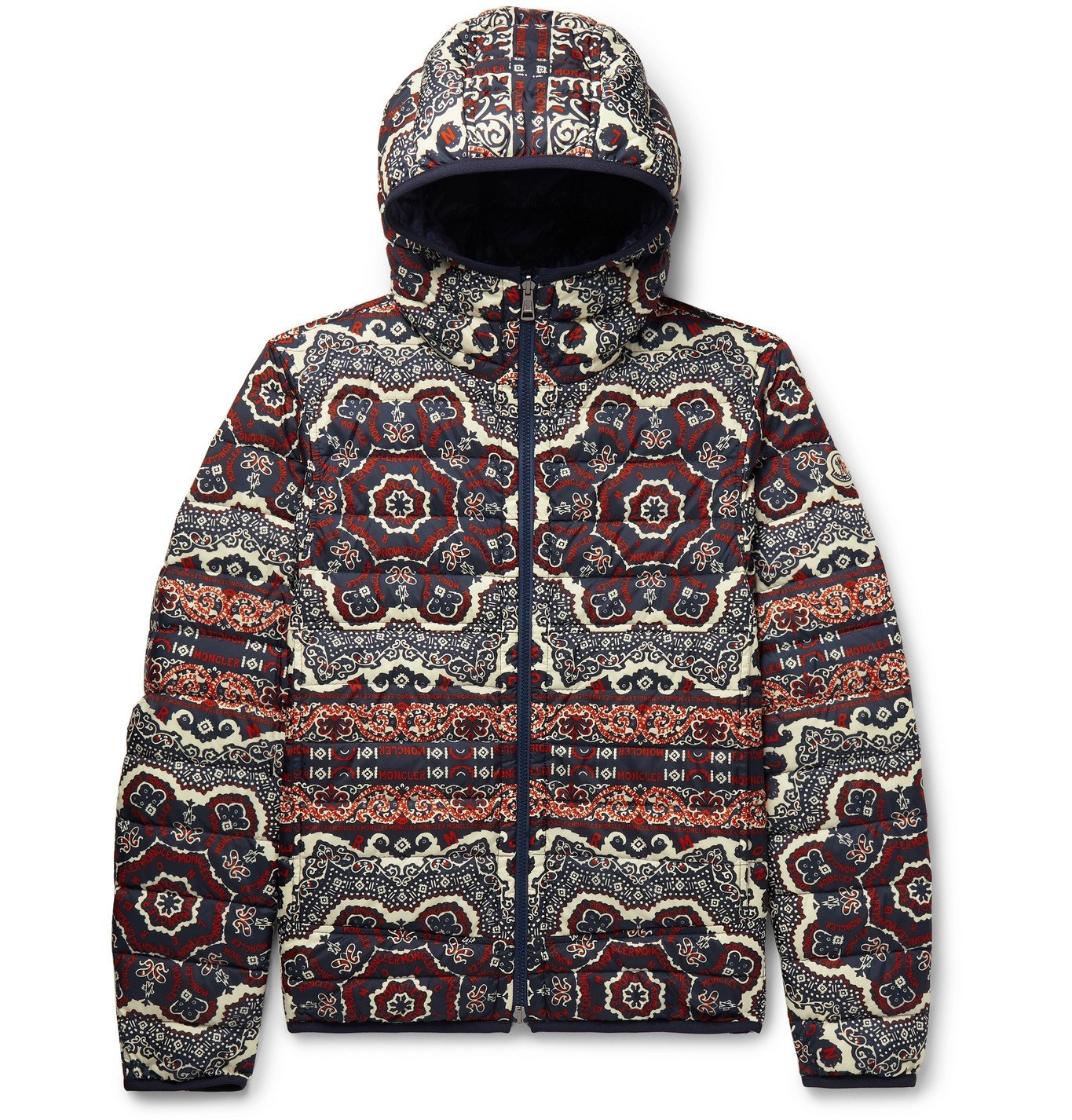 Photo: Moncler - Slim-Fit Reversible Bandana-Print Quilted Shell Hooded Jacket - Multi