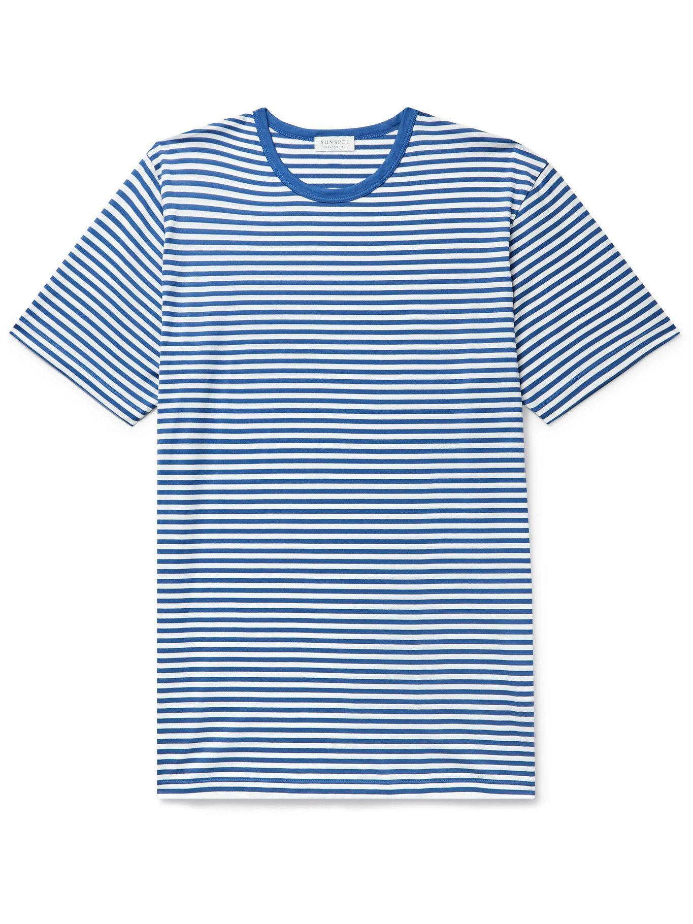 Photo: Sunspel - Striped Cotton-Jersey T-Shirt - Blue