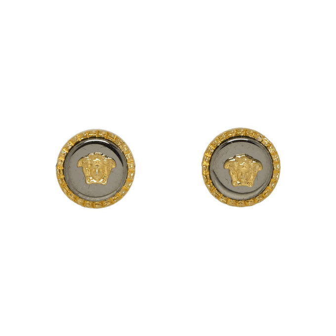 Photo: Versace Gold and Silver Medusa Stud Earrings