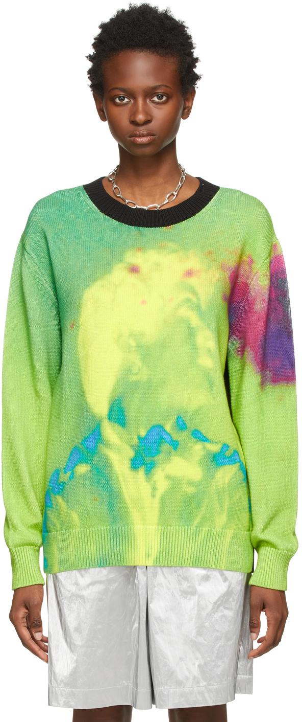 Photo: Dries Van Noten Green Len Lye Edition Cotton Graphic Print Sweater