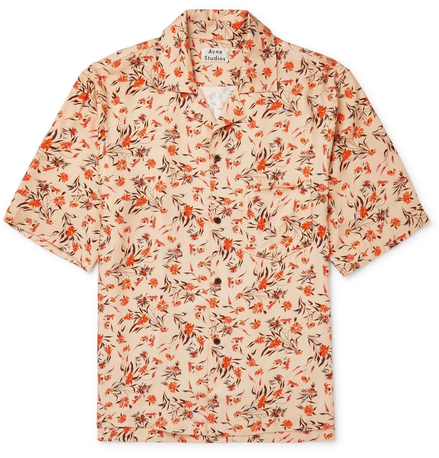 Photo: Acne Studios - Simon Camp-Collar Floral-Print Twill Shirt - Orange