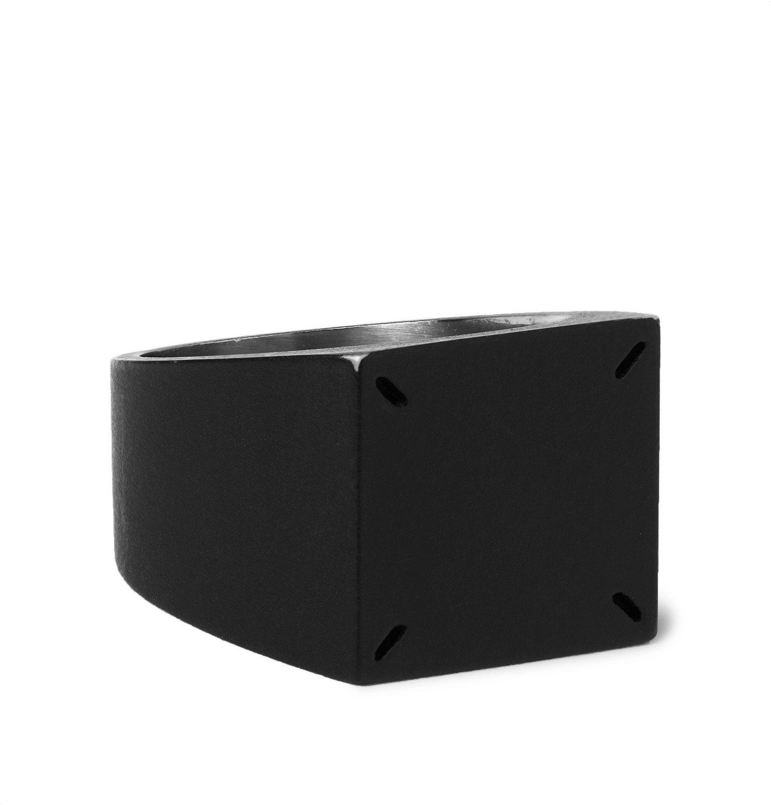 Photo: Maison Margiela - Matte-Black and Silver-Tone Signet Ring - Black