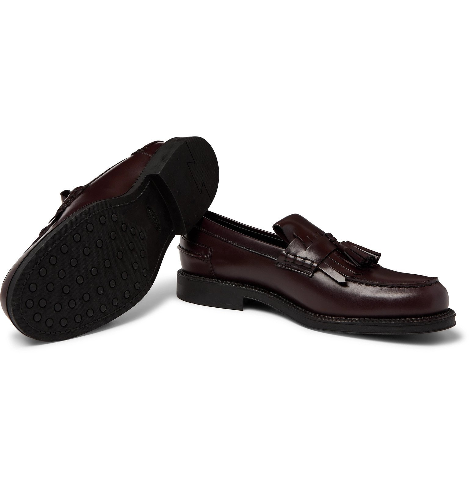 Tod's - Leather Tasselled Loafers - Burgundy