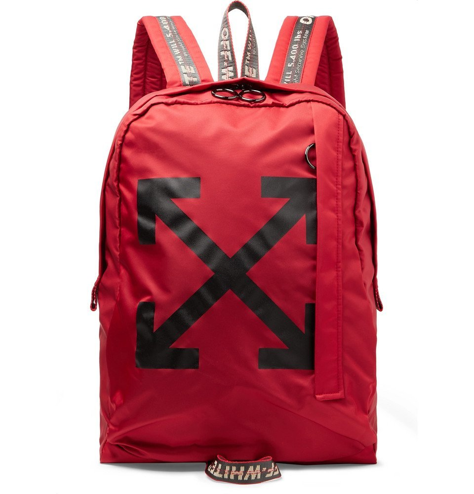 Photo: Off-White - Easy Logo-Print Canvas Backpack - Red