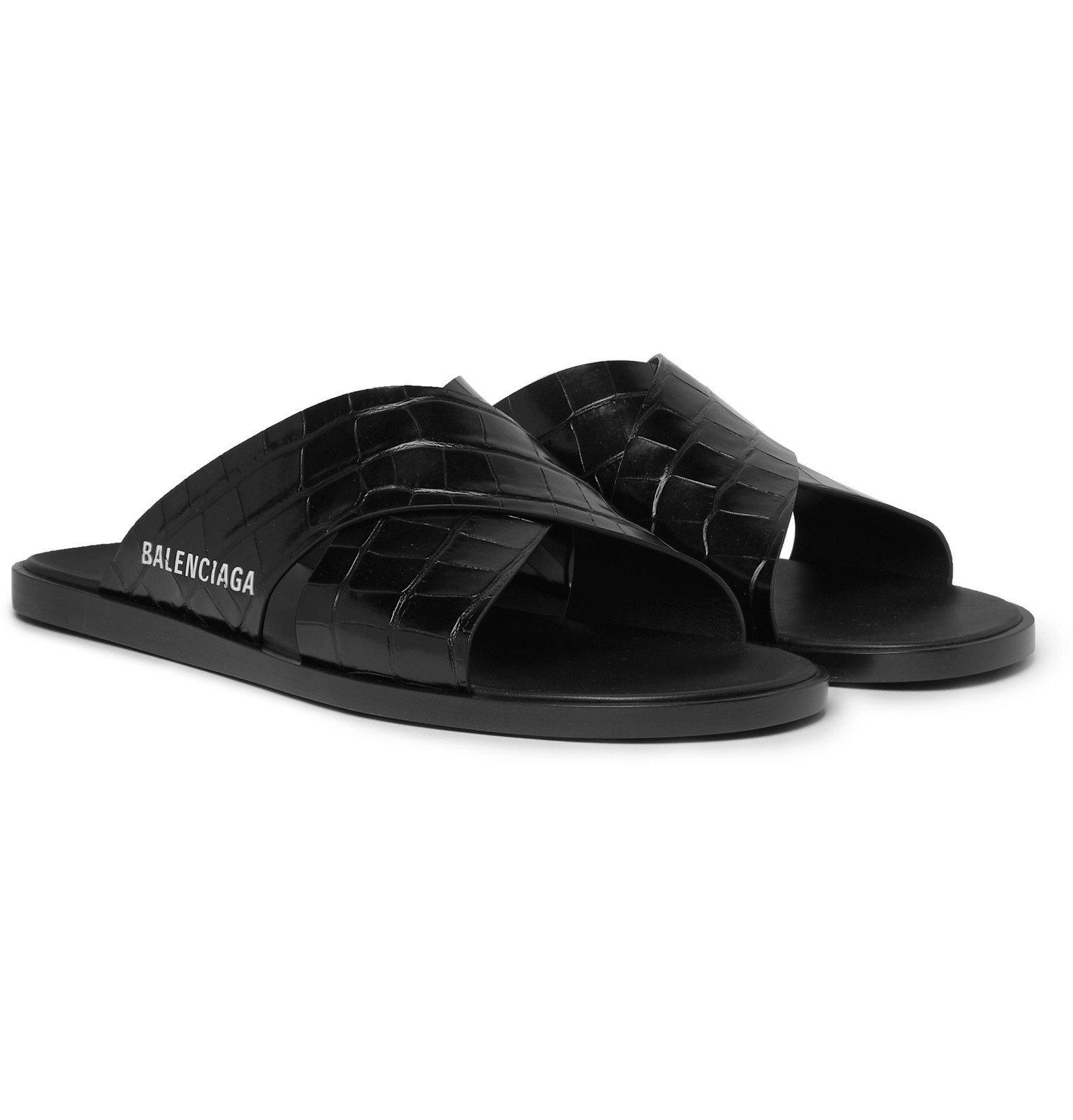 Photo: Balenciaga - Logo-Print Croc-Effect Leather Slides - Black