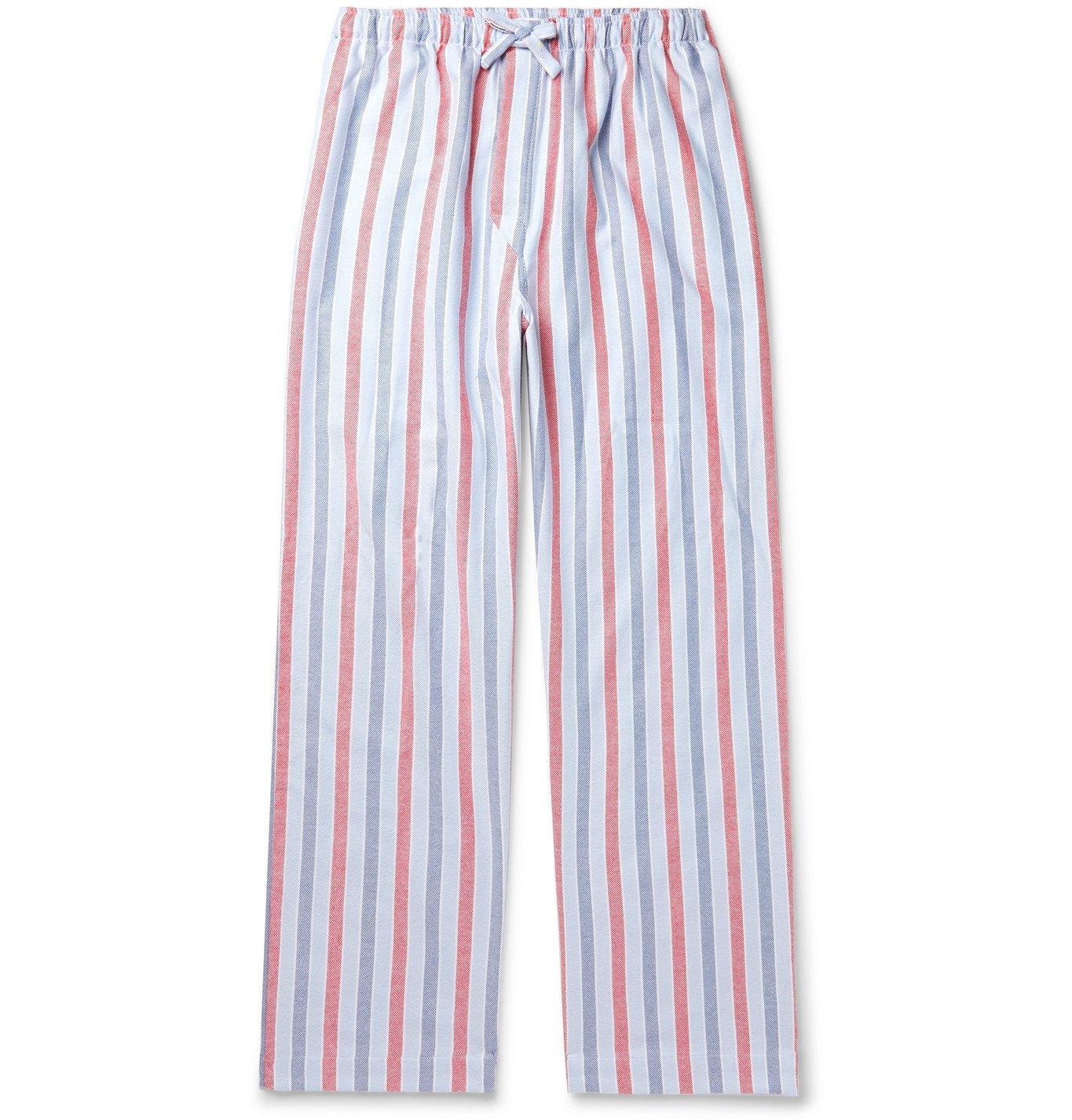 Photo: Derek Rose - Kelburn Striped Brushed-Cotton Pyjama Trousers - Blue