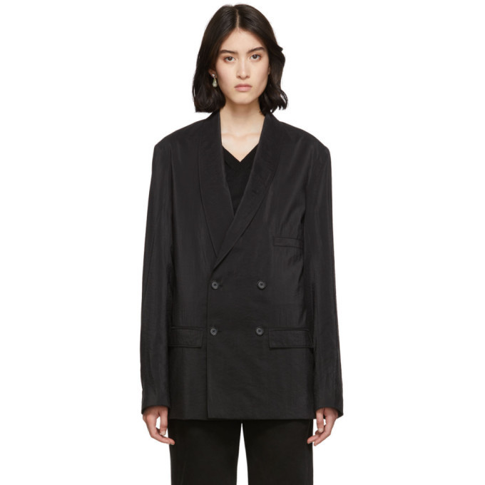 Photo: Lemaire Black Dry Silk Double-Breasted Blazer
