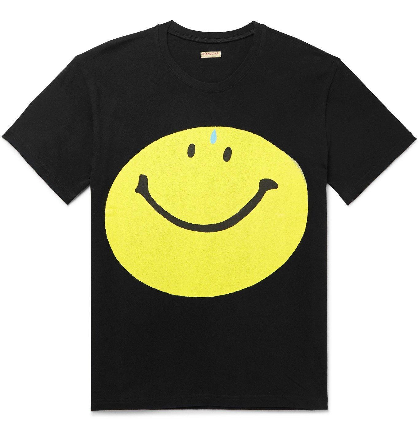 KAPITAL - Printed Cotton-Jersey T-Shirt - Black