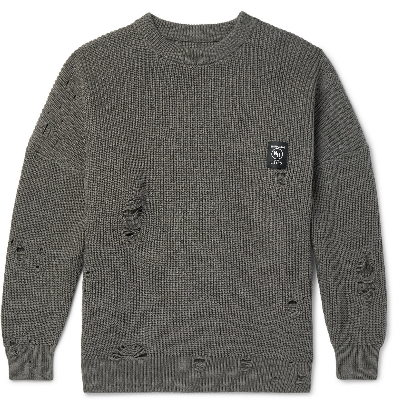 Photo: Neighborhood - Savage Distressed Ribbed Cotton-Blend Sweater - Neutrals