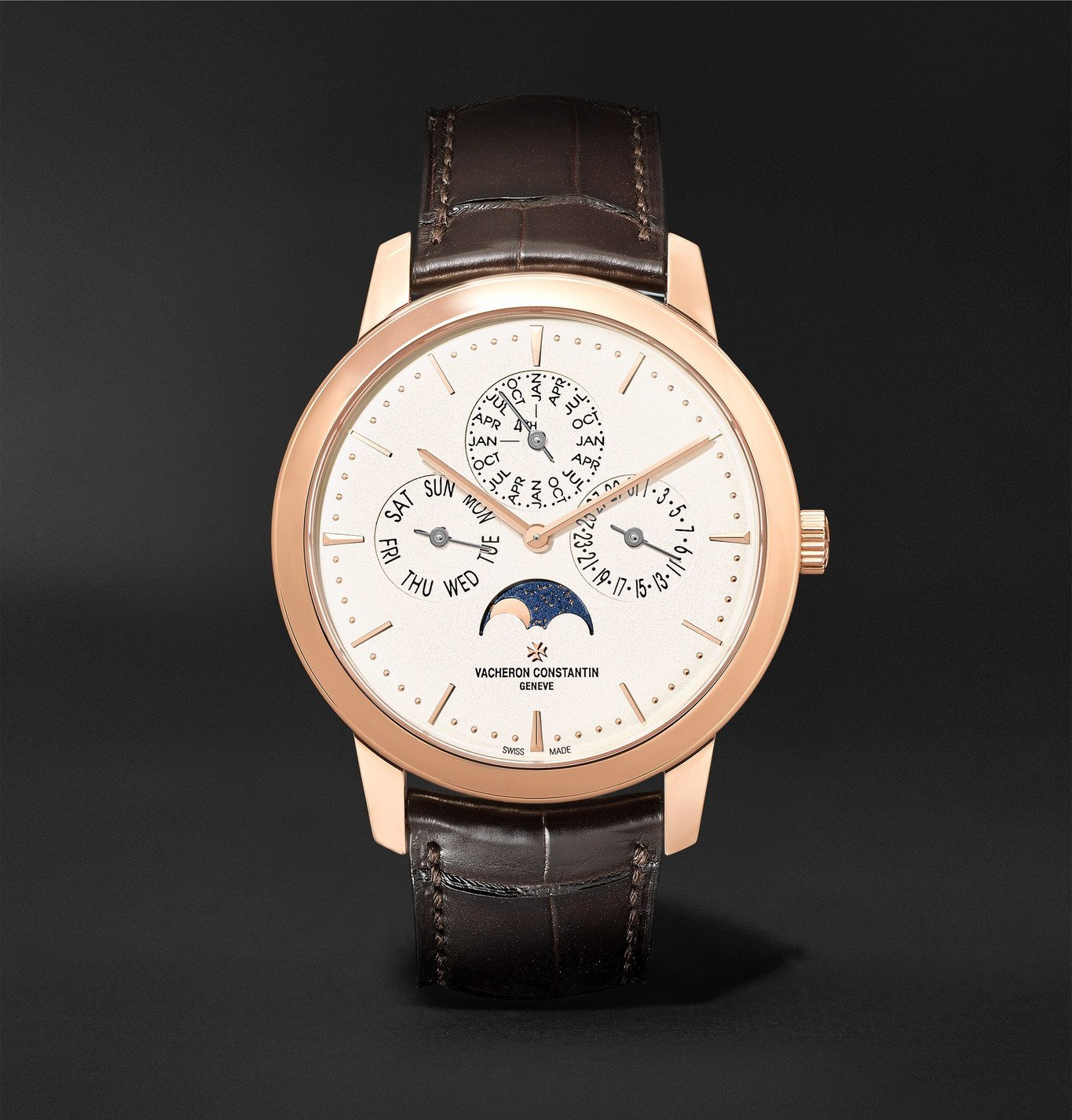 Photo: Vacheron Constantin - Traditionnelle Perpetual Calendar Automatic 41mm 18-Karat Pink Gold and Alligator Watch, Ref. No. 43175/000R-9687 - Blue
