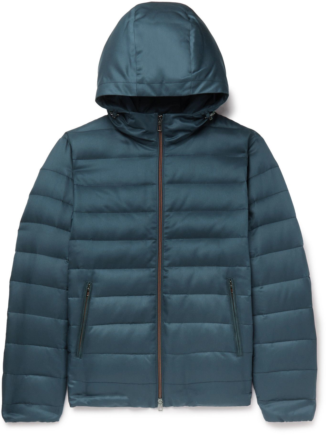 Photo: LORO PIANA - Gateway Quilted Silk-Twill Hooded Down Jacket - Blue