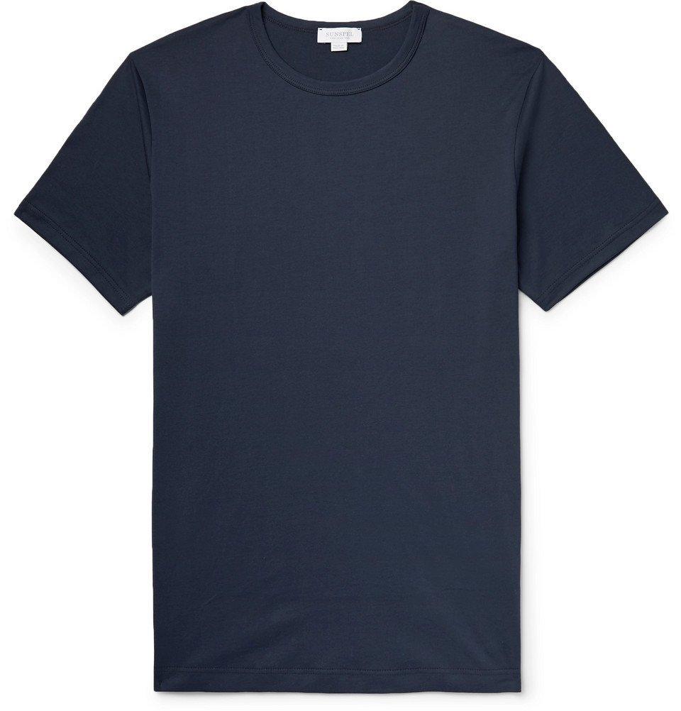 Sunspel - Superfine Cotton-Jersey T-Shirt - Men - Navy