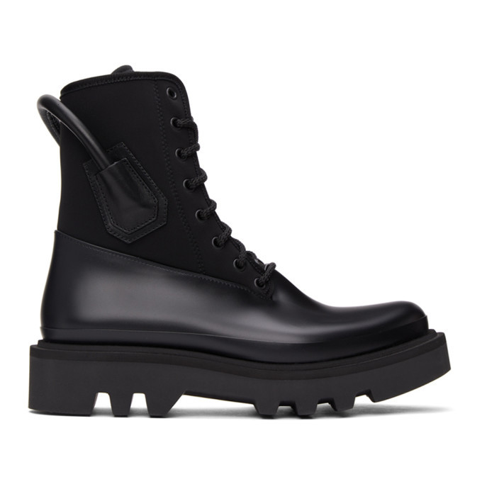 Photo: Givenchy Black Neoprene and Rubber Combat Boots
