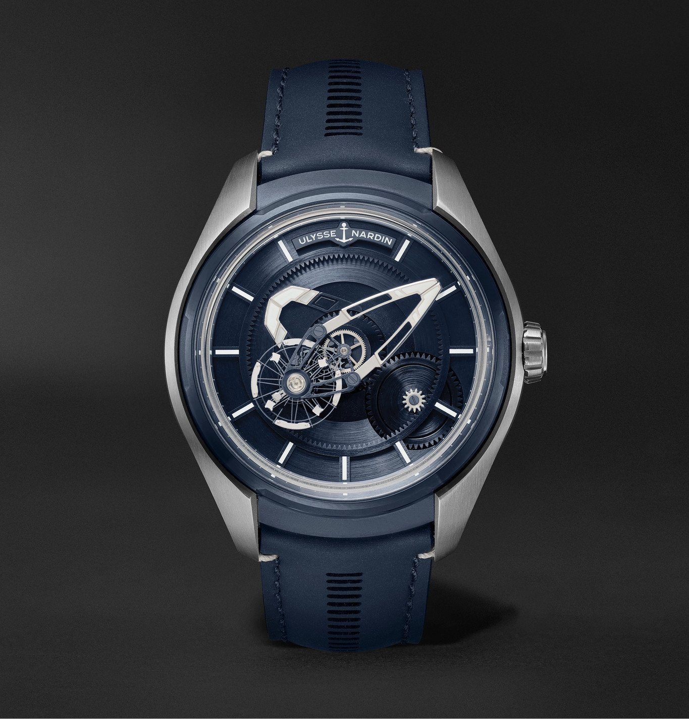 Photo: Ulysse Nardin - Freak X Automatic 43mm Titanium and Leather Watch, Ref. No. 2303-270.1/03 - Blue