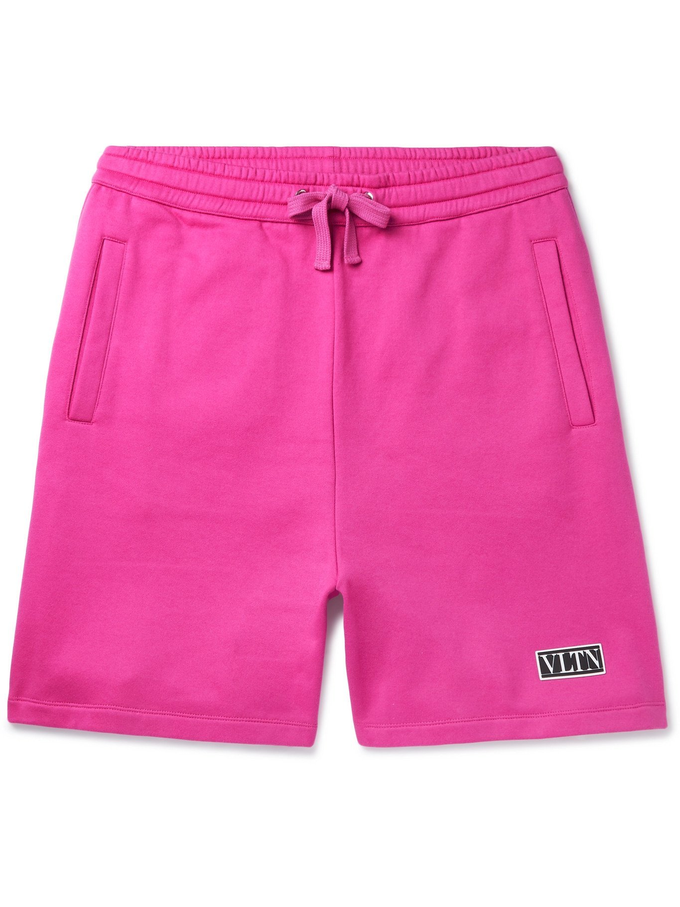 Photo: VALENTINO - Wide-Leg Logo-Appliquéd Cotton-Blend Jersey Drawstring Shorts - Pink - XS