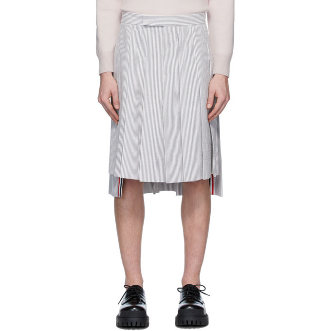 Photo: Thom Browne White and Grey Seersucker Backstrap Knee-Length Skirt