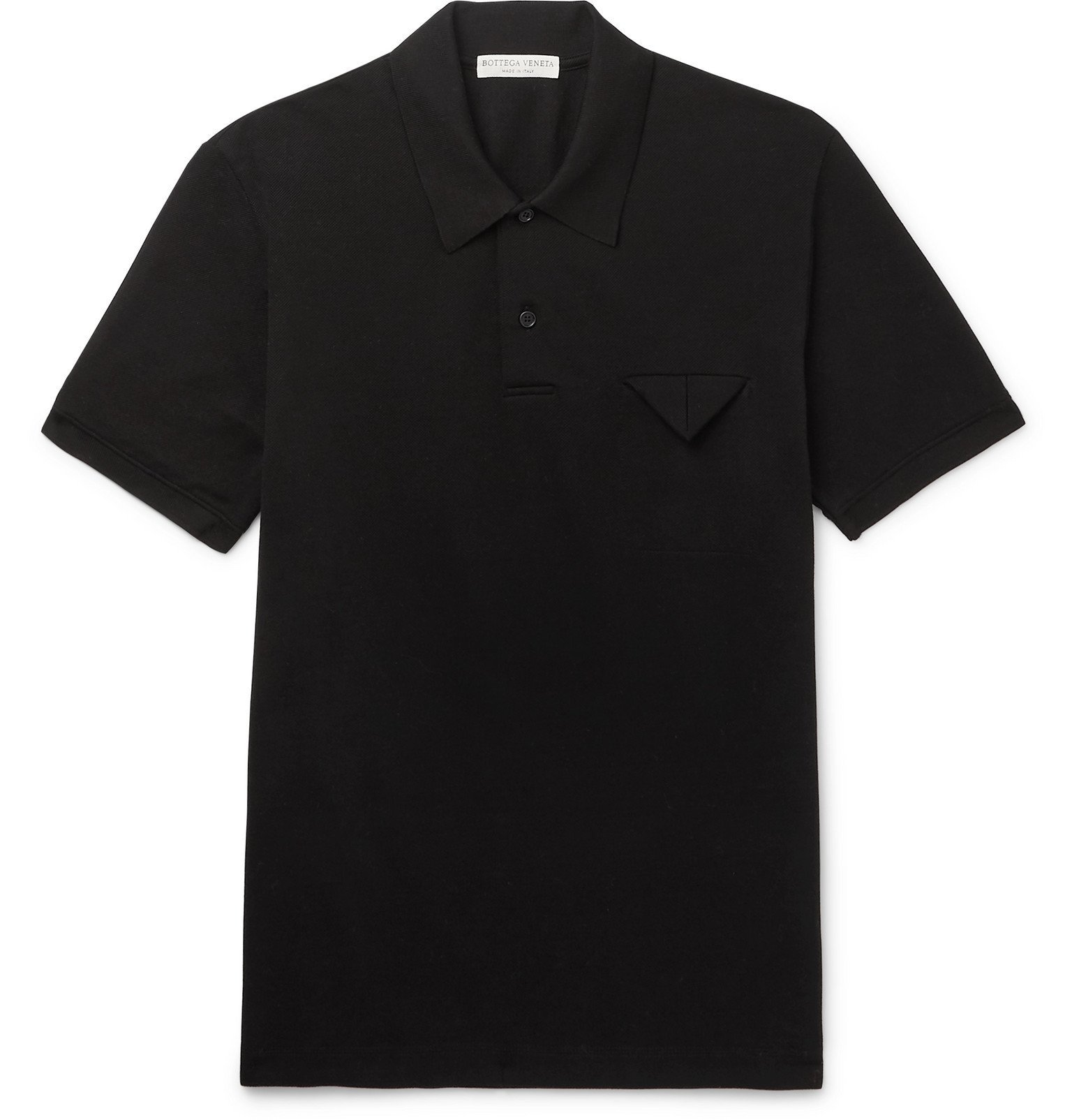Photo: Bottega Veneta - Cotton-Piqué Polo Shirt - Black