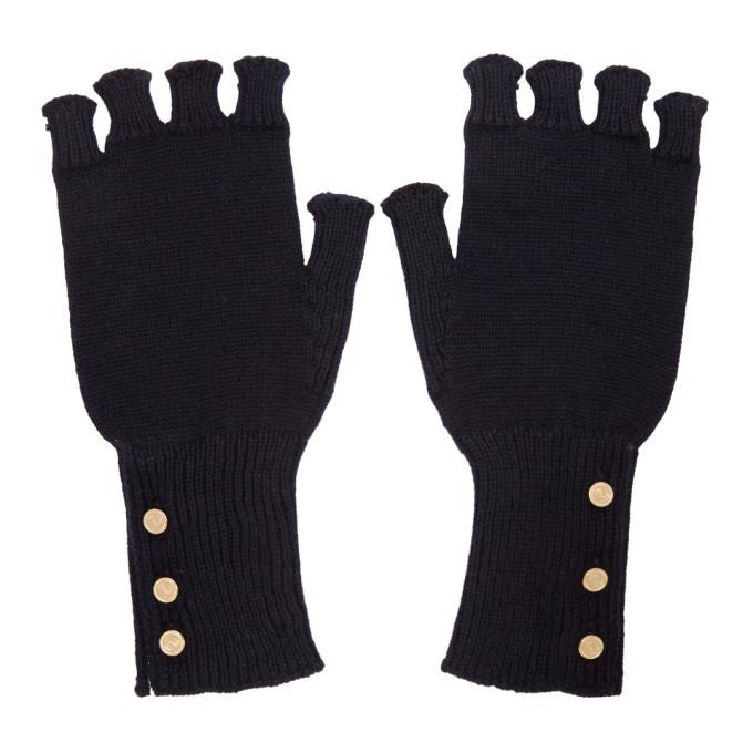 Photo: Thom Browne Navy Wool Fingerless Gloves