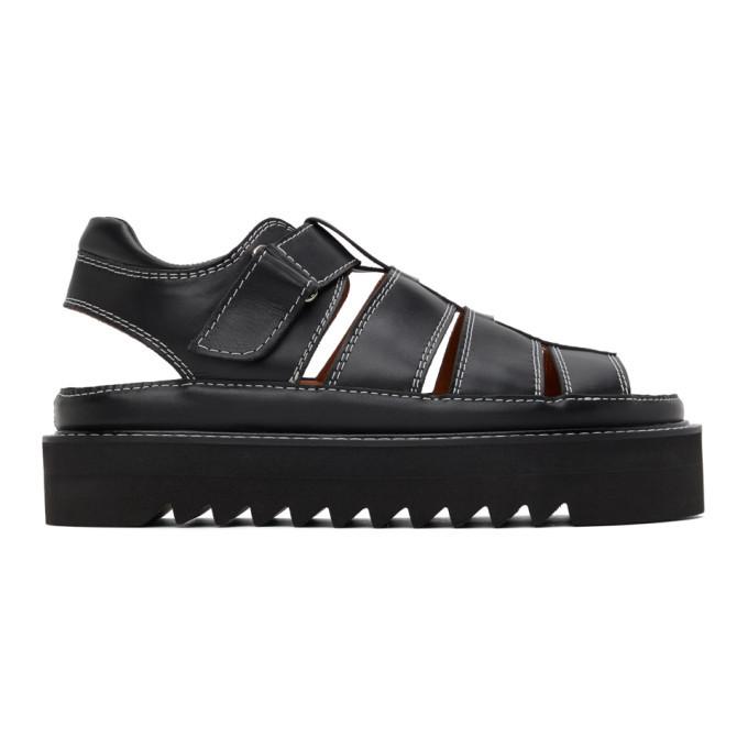 Photo: AMI Alexandre Mattiussi Black Leather Strap Sandals